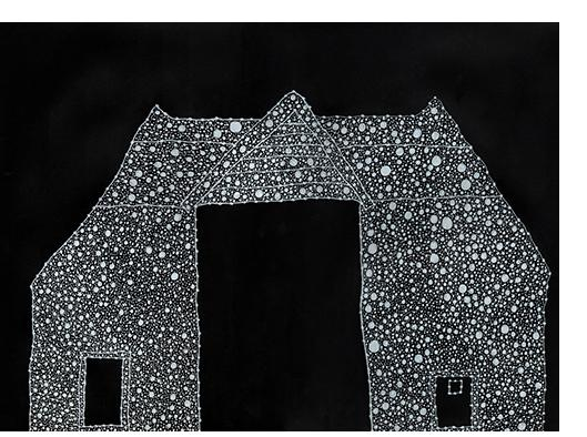 David Tibet - 'Red House Is Red Barn' (white ink on black paper) 29.7 x 42.0cm, 11.69 x 16.53 inches