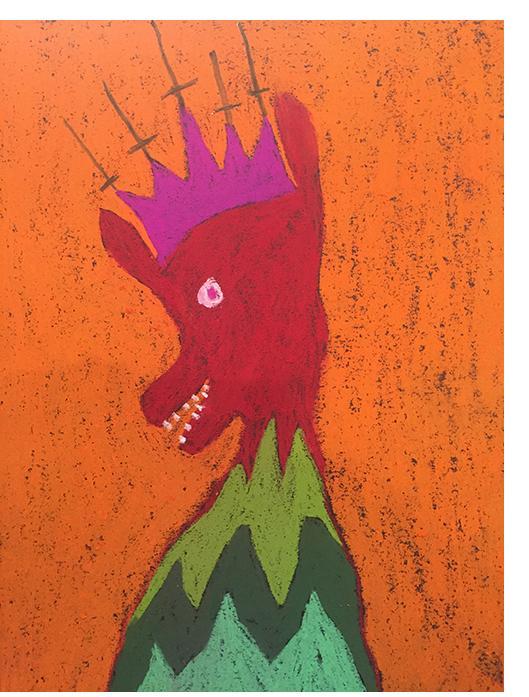 David Tibet - 'AntiChrist' (coloured pastel on black paper) 21.0 x 29.7cm,  8.27 x 11.69 inches