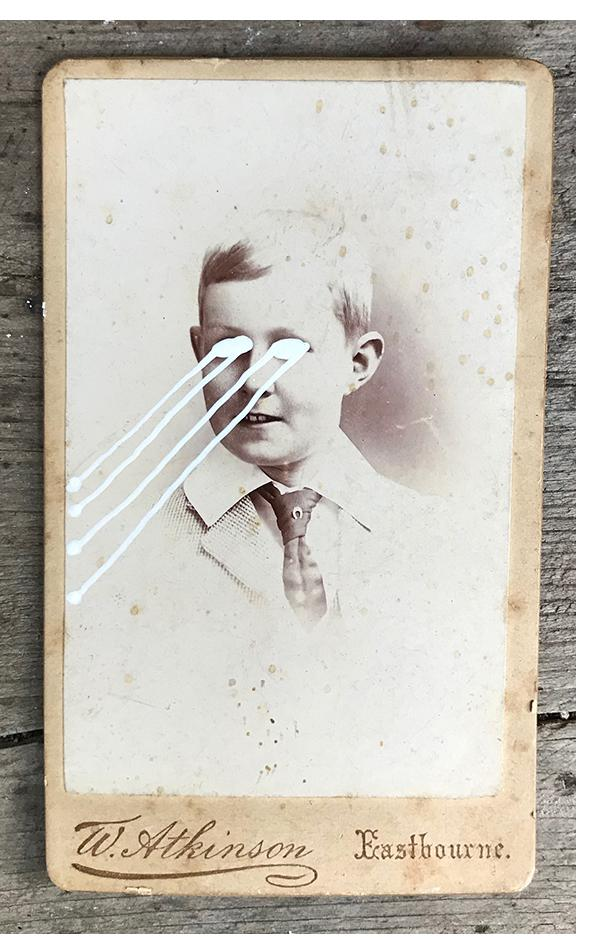 THE LIGHT IS LEAVING US ALL #2635 - small cabinet card, hand-painted and signed £111
