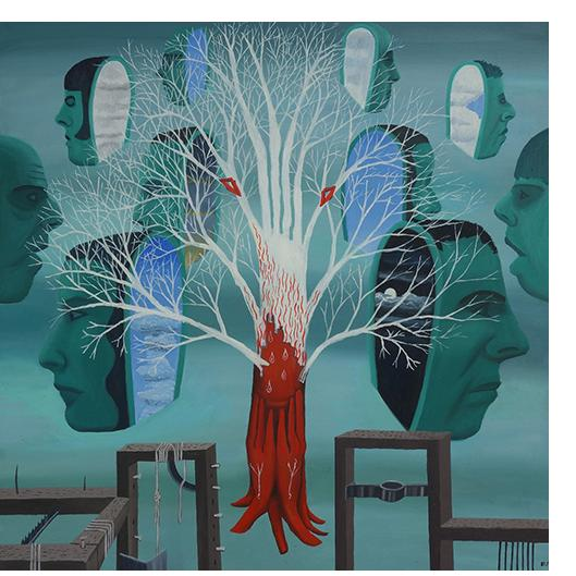 Bryan Charnley - 'Tree of Life'  Oil on canvas, 44 x 44 ins. 1989