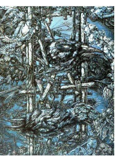 Vonn Stropp :'Untitled' - c.1985, acrylic on board, 75 x 45 ins