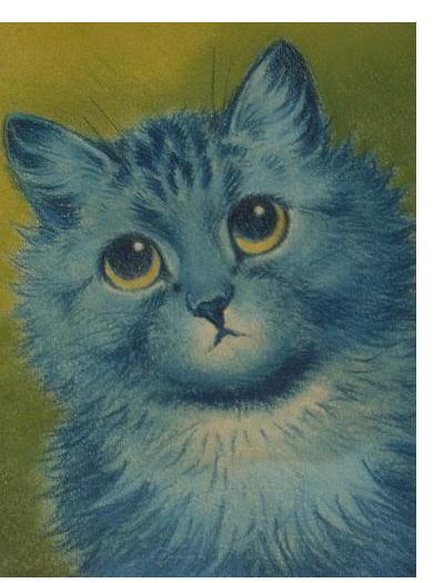 Louis Wain :'Blue Cat' - c.1932, pastel & crayon, 8.5 x 6.5 ins