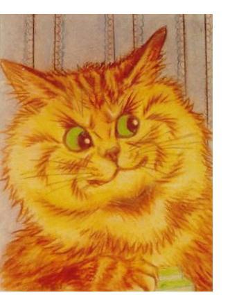 Louis Wain :'Ginger Cat' - c,1932, Crayon, 9 x 7 ins