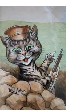 Louis Wain :'Hello You Girls!' c.1917  watercolour  9 x 6.5 ins