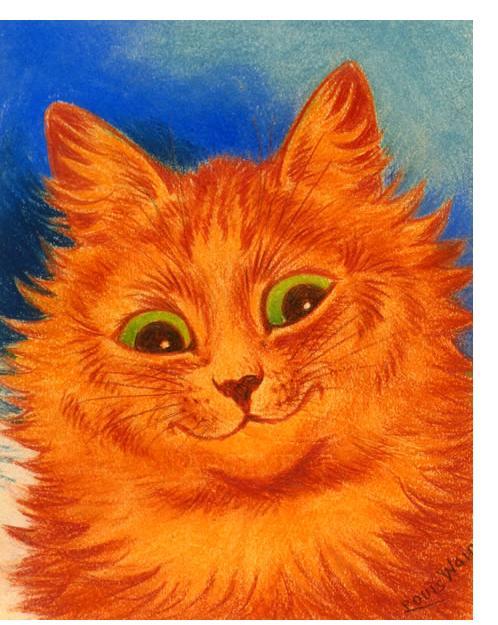 Louis Wain :'Green Eyes' c.1930  crayon  9 x 7.5 ins