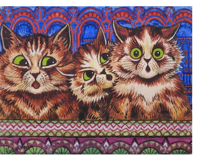 Louis Wain :'They Sang with Sweetness' c.1932 watercolour 7 x 9 ins‏