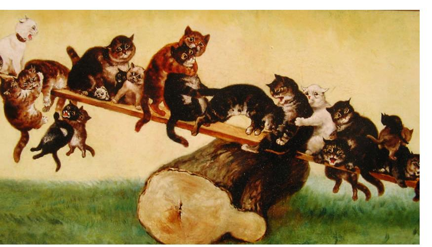 Louis Wain : 'See-Saw' c.1890 oil on canvas 47 x 19 ins