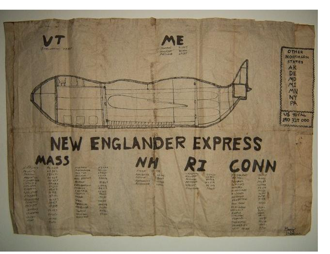 George Widener: 'New Englander Express' - 2005, ink on paper, 17 x 24 ins