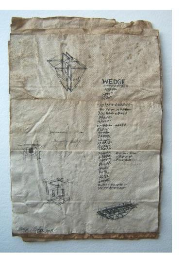 George Widener: 'Wedge' - 2005, ink on paper, 9 x 7 ins