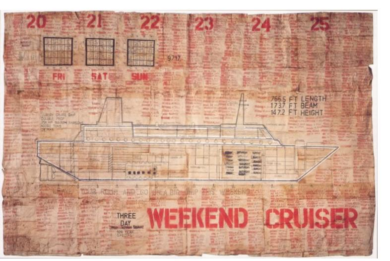 George Widener: 'Weekend Cruiser' - 2005, (illustrated random weekends in a 500 yr period) - 36 x 56 ins, pen & ink on found paper napkins. Courtesy: Collection de l'Art Brut, Lausanne'