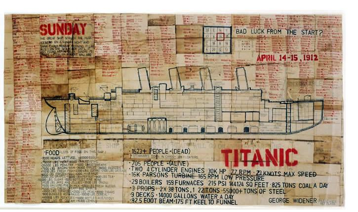 George Widener: 'Titanic' 2004  ink on paper   25 x 42 ins