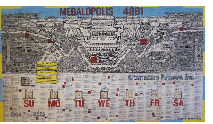George Widener: 'Megalopolis' - 2005, ink on paper, 26 x 40 ins