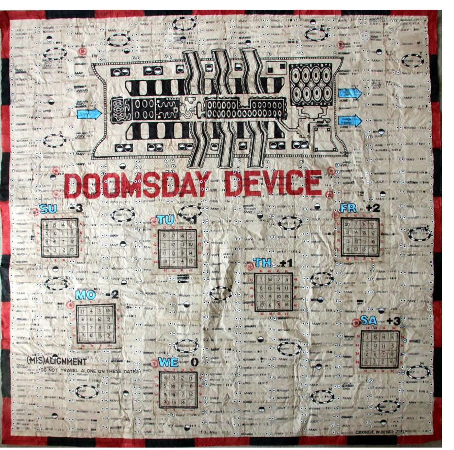 George Widener: Exhibited: 'Doomsday Device' 2013 ink on napkins 128 x 132 cm