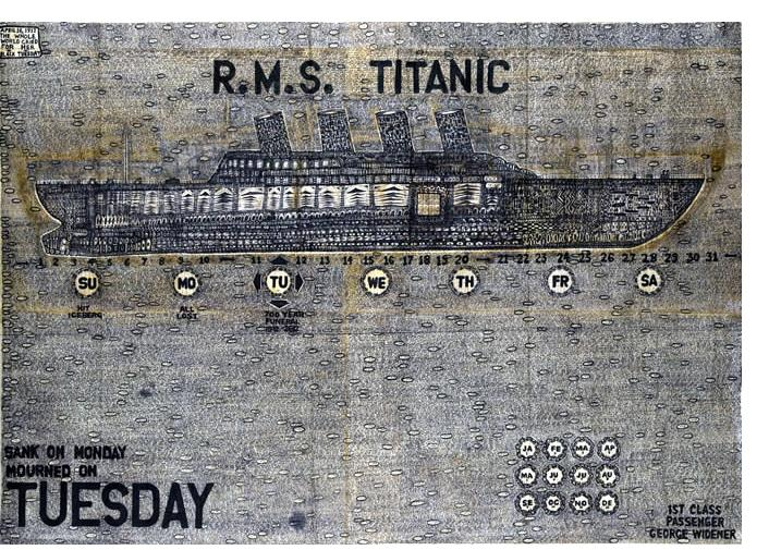 George Widener - 'Titanic', 2007, 48 x 68 inches, ink on found paper