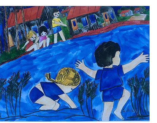 Roland Wilkie: 'The River War' 1996 watercolour  57 x 76 cm