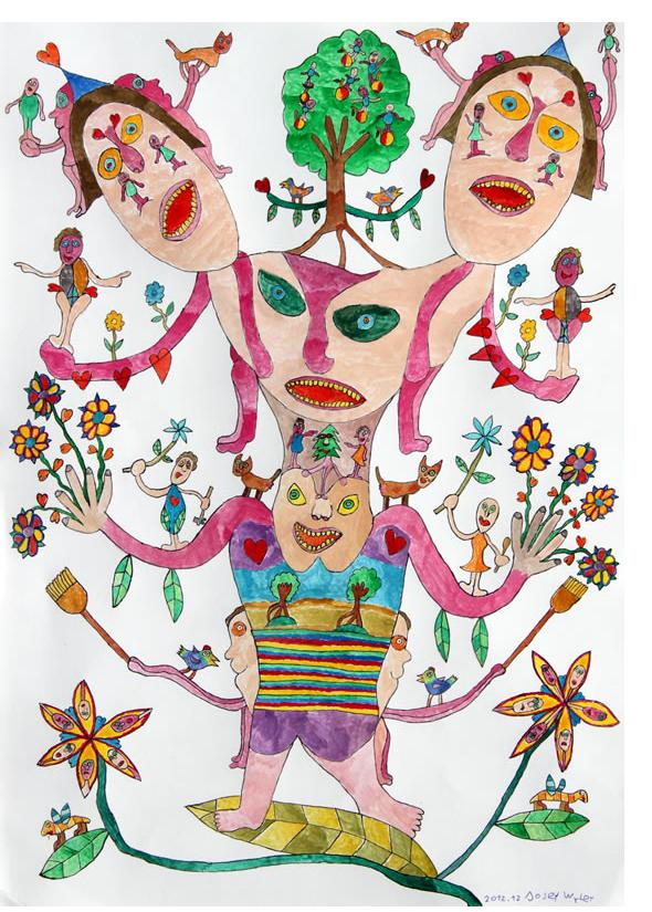 Josef Wyler :'The Double Headed Man' 2012  ink & watercolour  11.75 x 16.5 ins